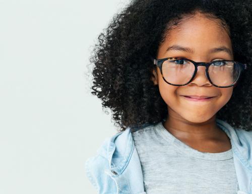 African descent little girl wearing glasses - 6586