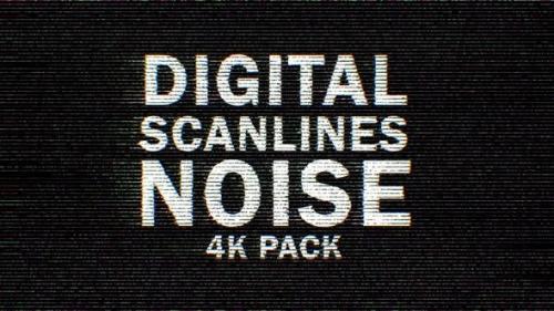 Videohive - 4k Color Digital Scanlines Noise 9 Pack