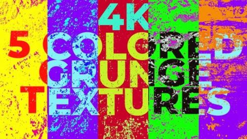 Videohive - 5 Colored Grunge Textures 4k