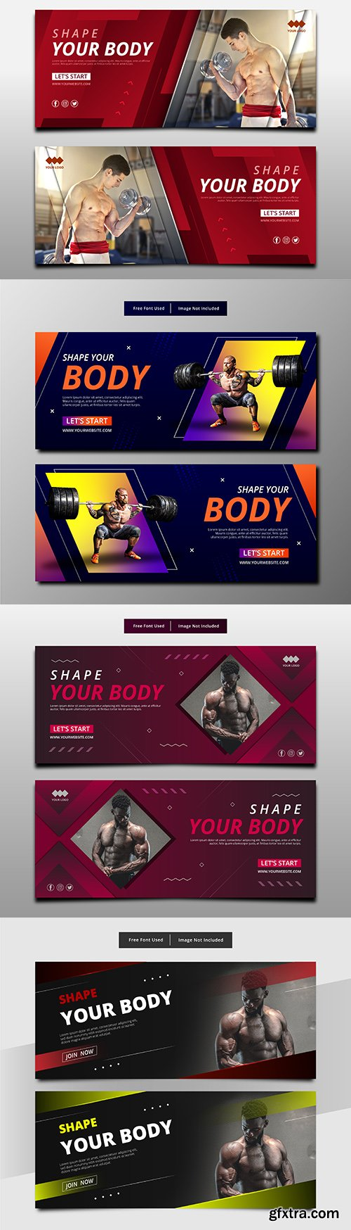 Abstract banner shape your body fitness template