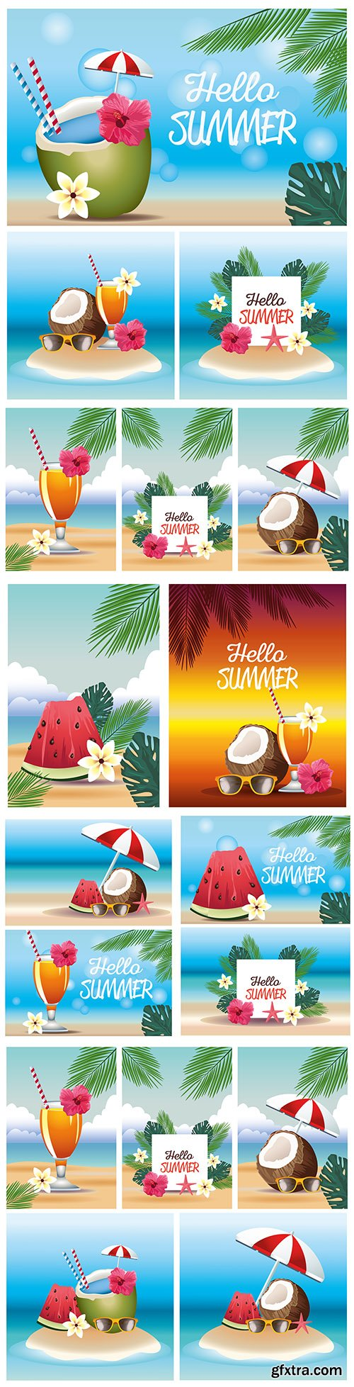Hello summer tropical holiday with coconuts and cocktails