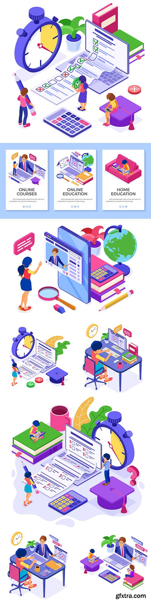 Online distance learning from home isometric illustrations