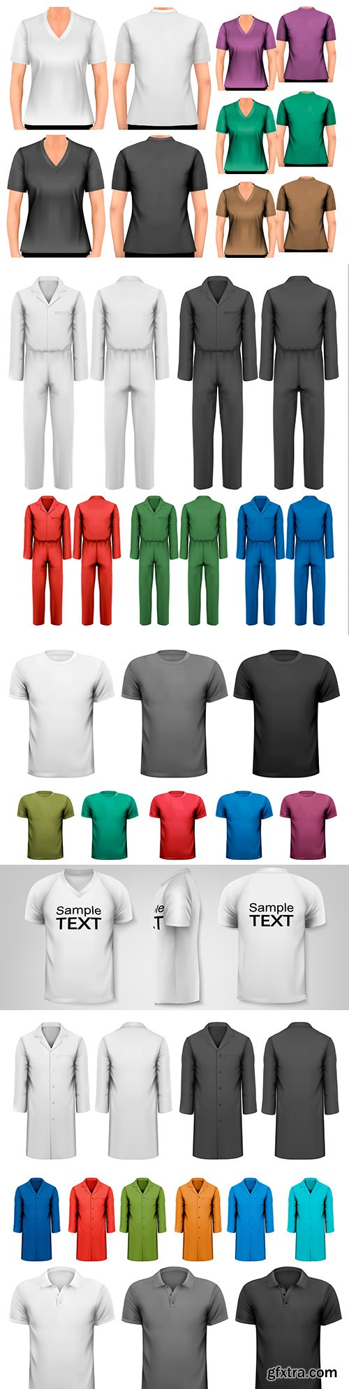 Black and white and colored men's T-shirts and workwear