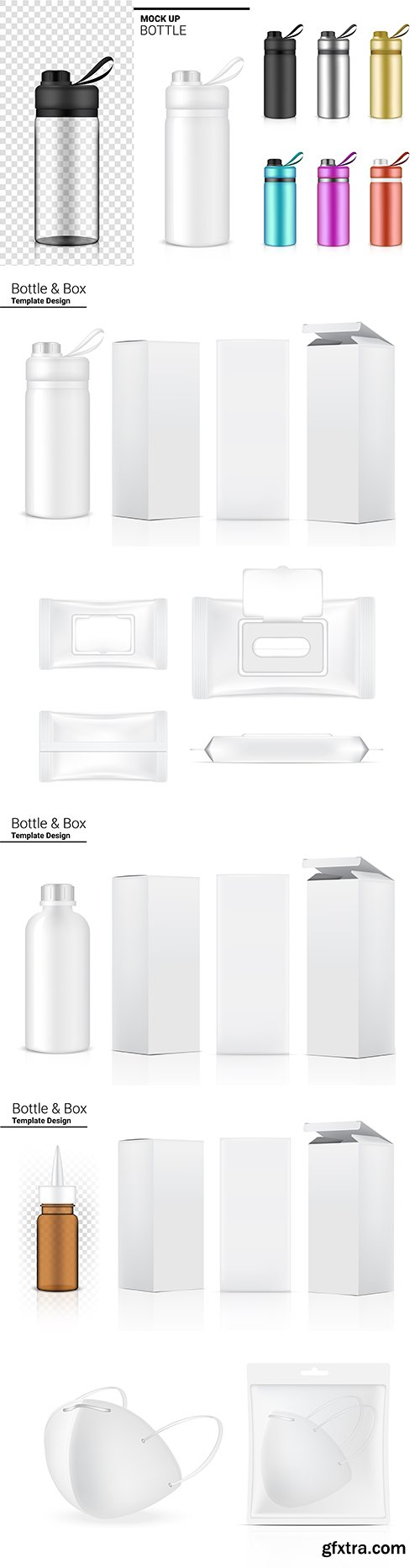 Bottle and packaging 3d realistic template design