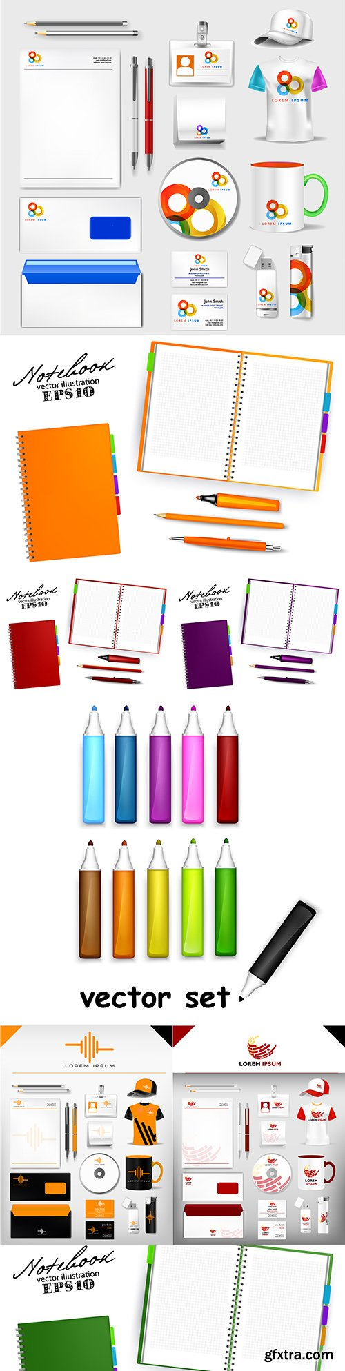 Business set and notebook with pen design template
