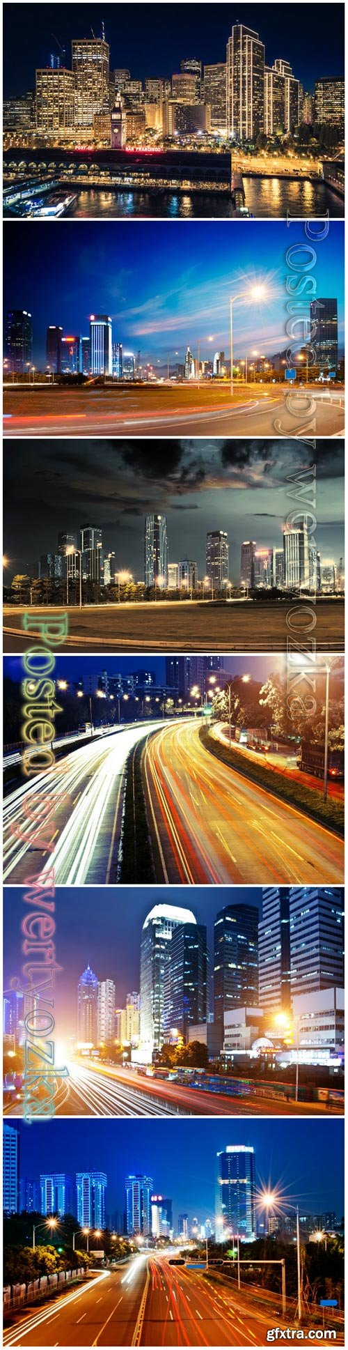 Night city beautiful stock photo