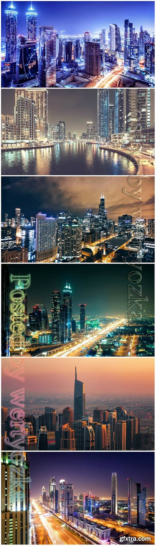 Night cities beautiful stock photo