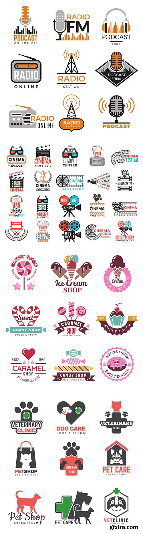 Icons, symbols and logo collection different themes flat design