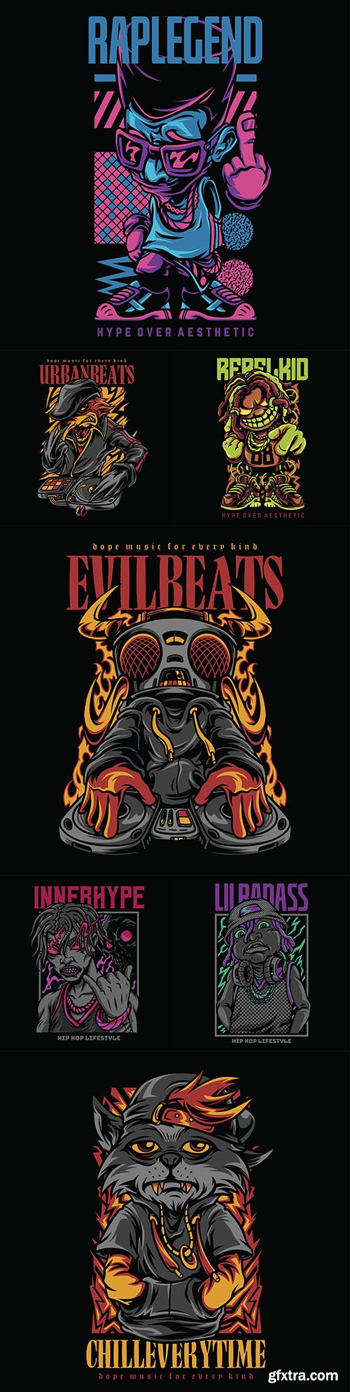 Collection of illustrations for different hip-hop themes
