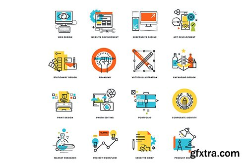 Set of Flat Line Design Icons
