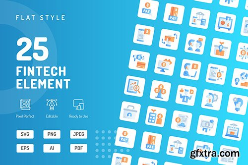 Fintech Element Flat Icons