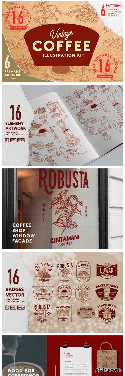 Vintage Coffee Illustration Kit 4686200
