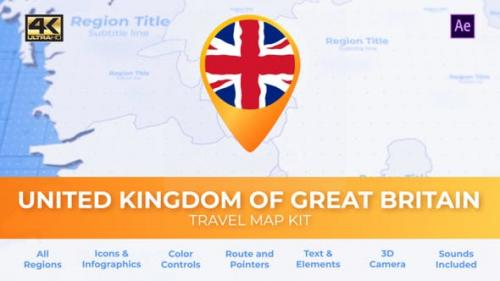 Videohive - United Kingdom of Great Britain Map - United Kingdom Travel Map
