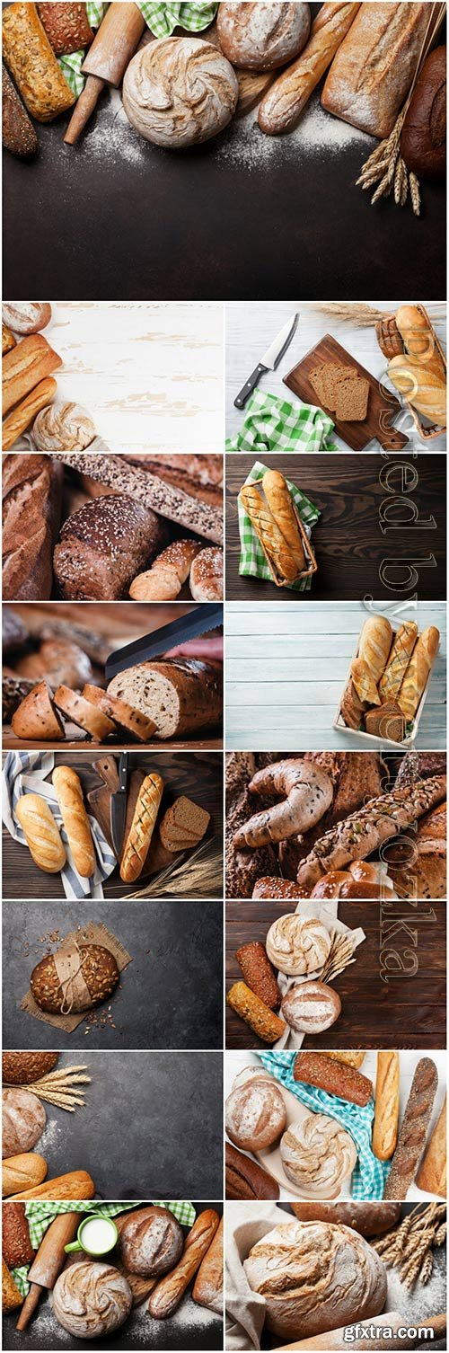 Bread and rolls, baked goods stock photo set
