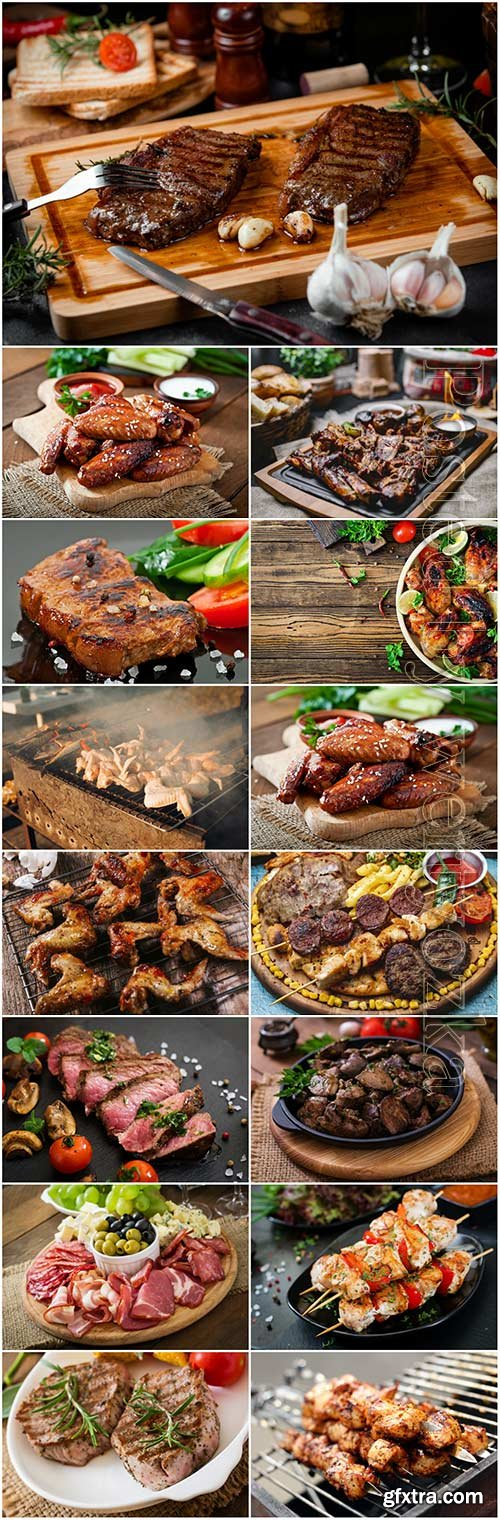 Meat, barbecue, fried chicken, steak stock photo set