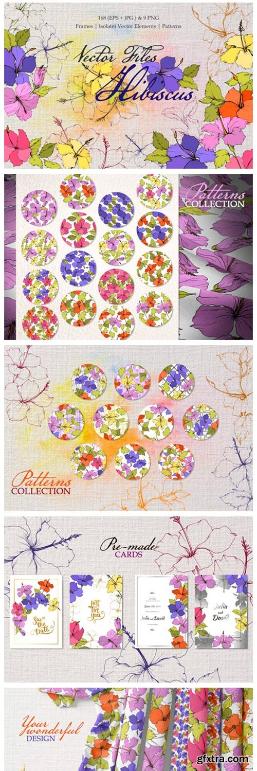 Hibiscus Vector Files Yellow and Purple 4756771