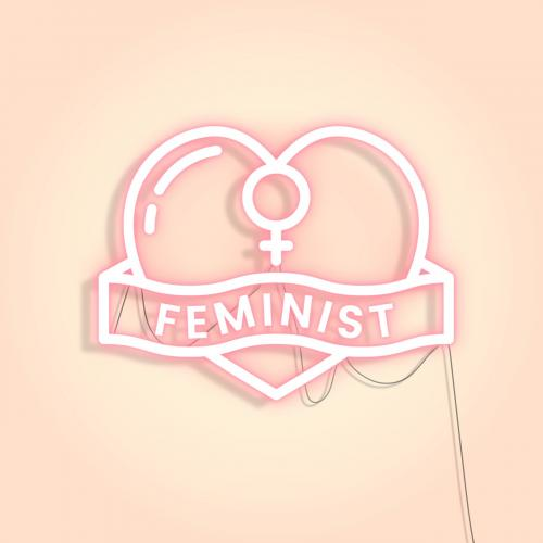 Neon feminist sign design resource icon - 2224543