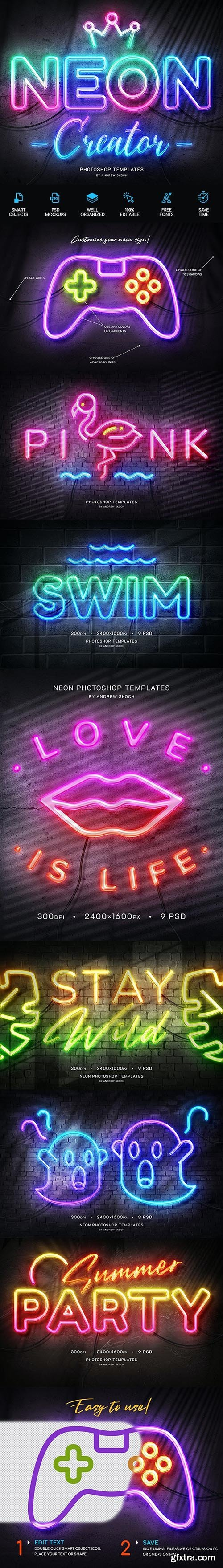 GraphicRiver - Neon Wall Sign Templates 27858499