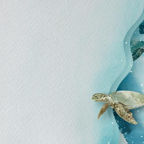Watercolor painted sea turtle on paper banner template - 2045334