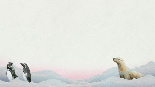 Watercolor painted arctic mammals on paper banner template - 2045392