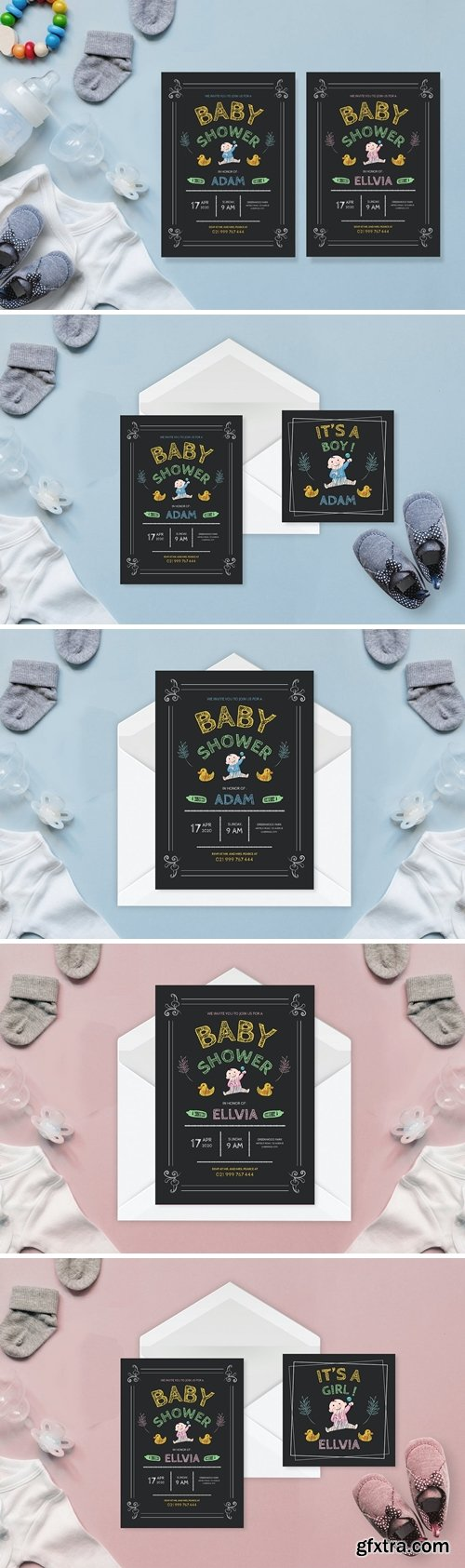 Simple Chalkboard Drawing - Baby Shower Invitation