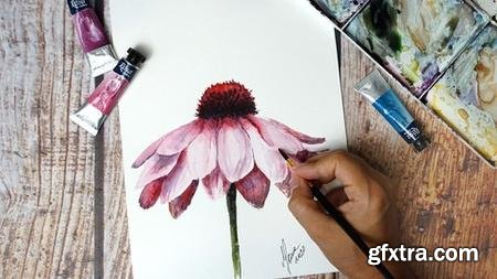 Watercolor Daisy: Paint a Realistic Pink Flower Step by Step