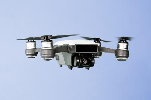 Flying drone isolated on purple mockup - 2089018