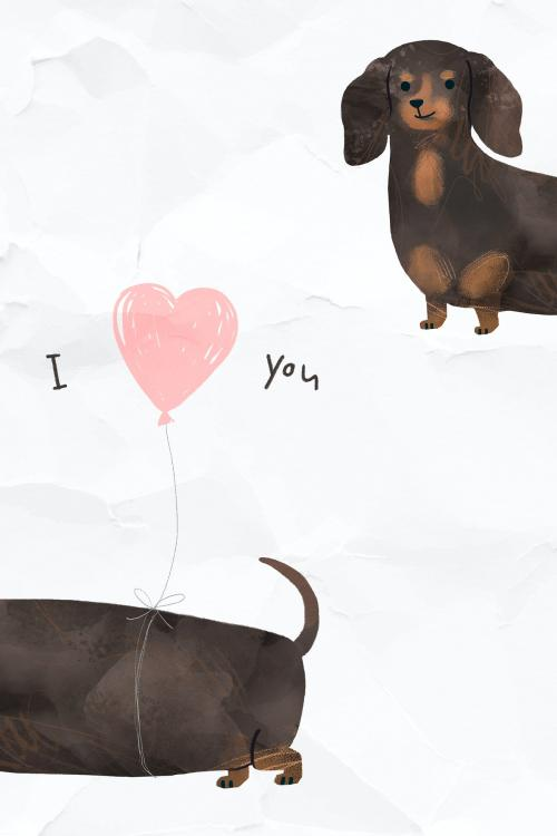 Dachshund with an I love you illustration - 2089803