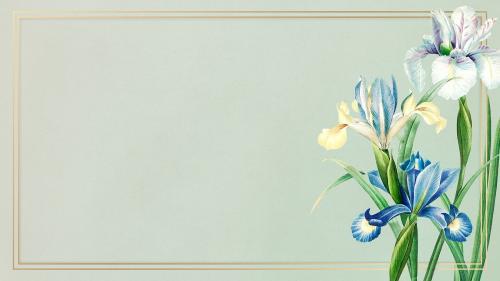 Golden Spanish iris frame wallpaper mockup - 2090592