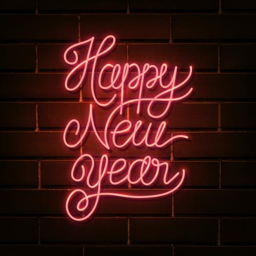 Neon bright happy new year social ads template - 1232191