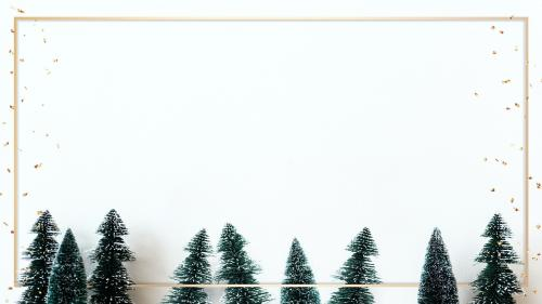 Rectangle gold frame mockup with Christmas tree decorations - 1232331