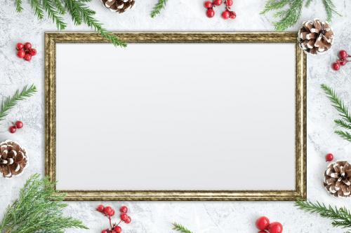 Classic gold frame mockup with Christmas decorations - 1232340
