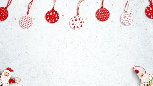 White stained background with red Christmas decorations - 1232342