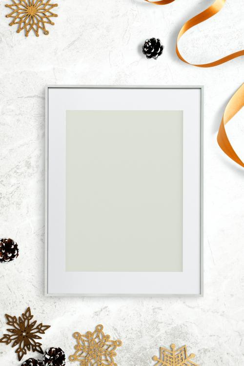 Silver frame mockup with Christmas decorations - 1232348