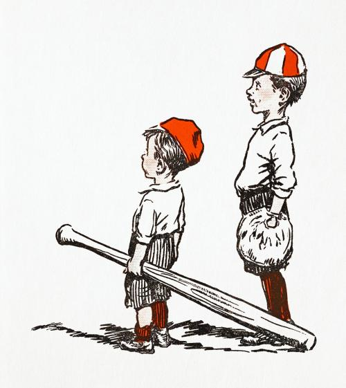 Two little baseball players - 1232795