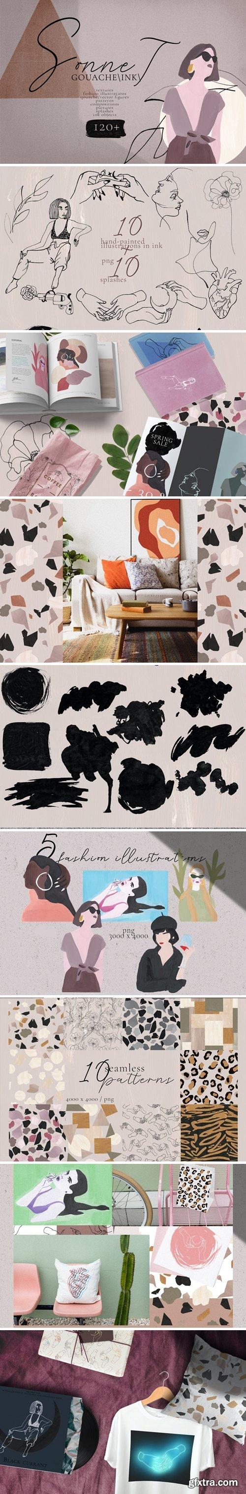 CreativeMarket - Sonnet - abstract gouache/ink art 3688099