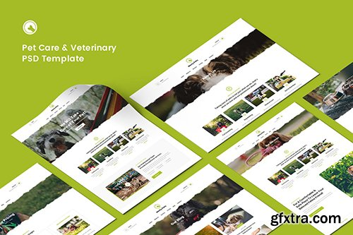 Pet Care, Pet Shop & Veterinary PSD Template