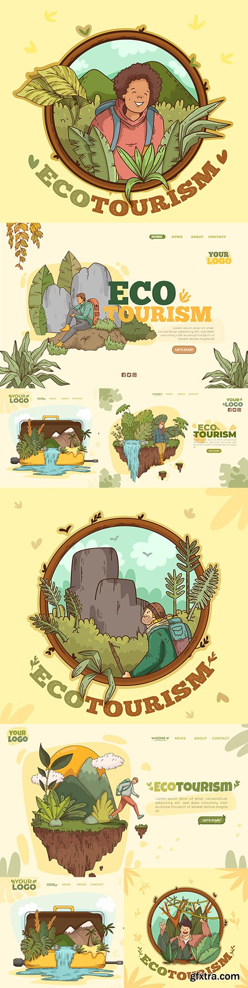 Eco tourism template landing page design