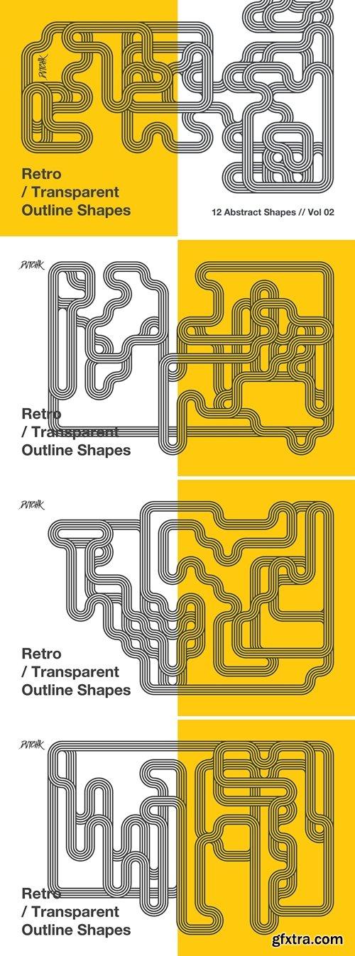 Retro | Transparent Outline Shapes | Vol. 02