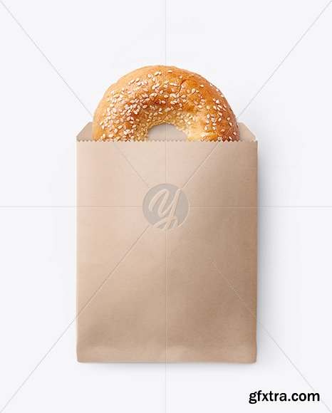 Paper Pack with Donut with Sesame Seeds Mockup 64274