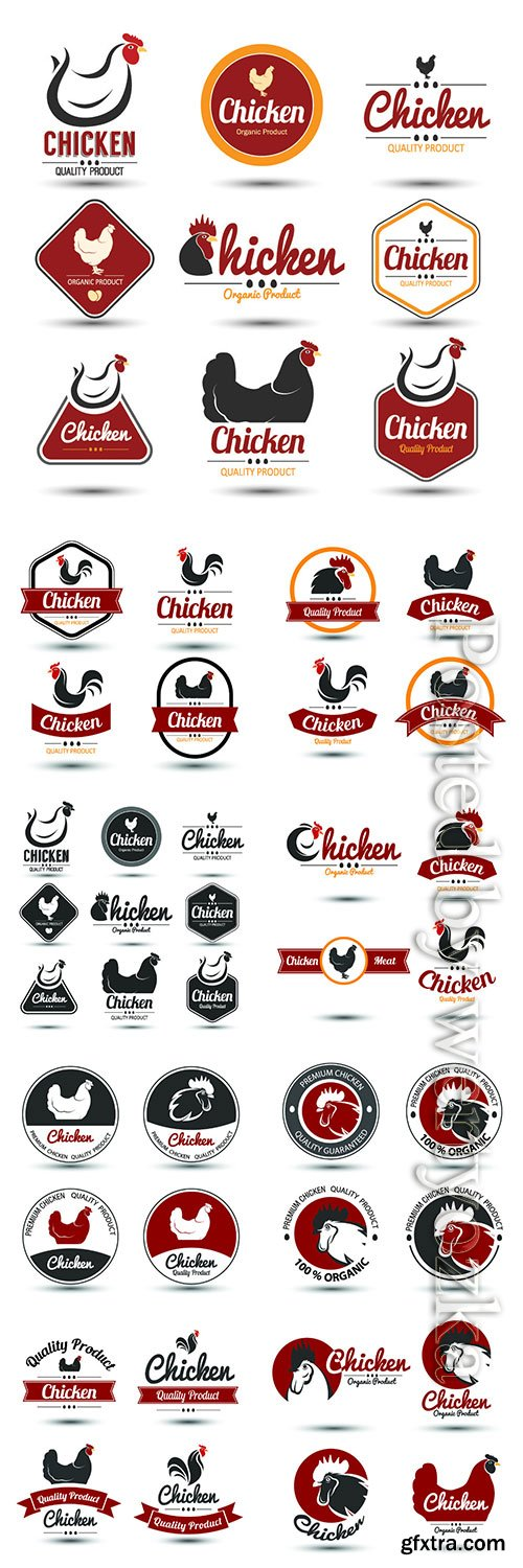 Chicken label collection vector illustration