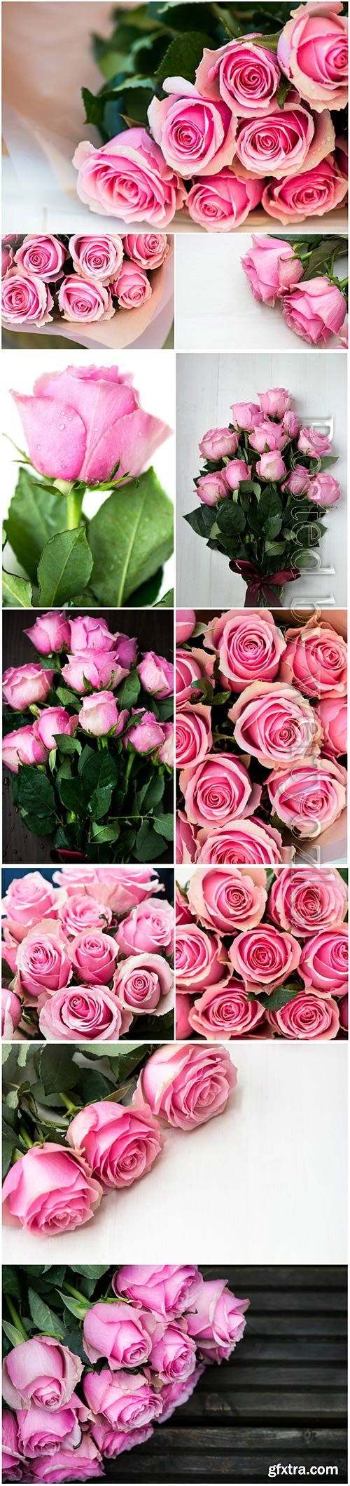 Bouquets of pink roses beautiful stock photo