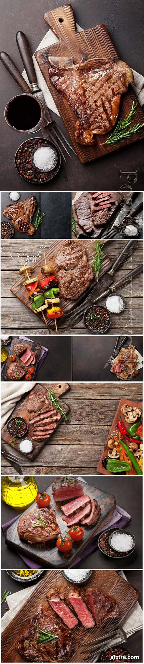 Beef steak and grilled beautiful stock photo