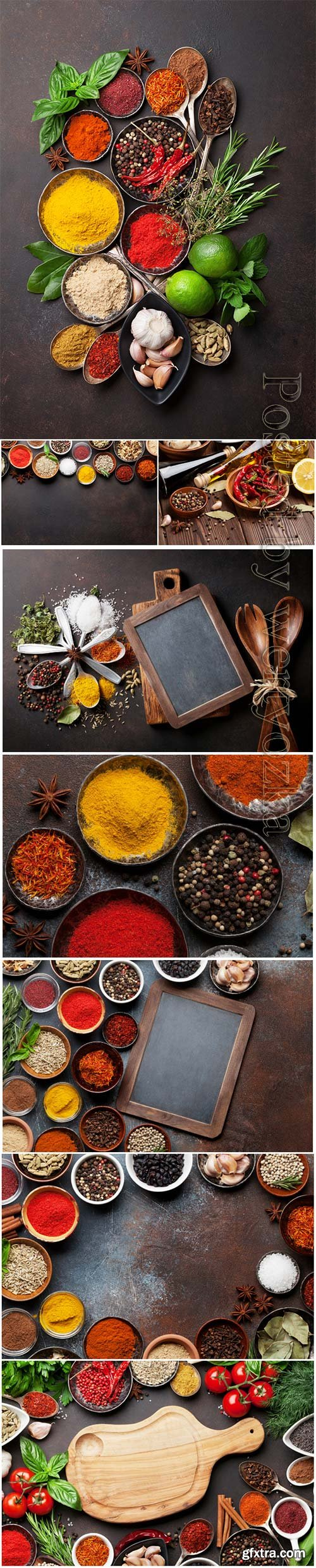 Various spices and herbs beautiful stock photo