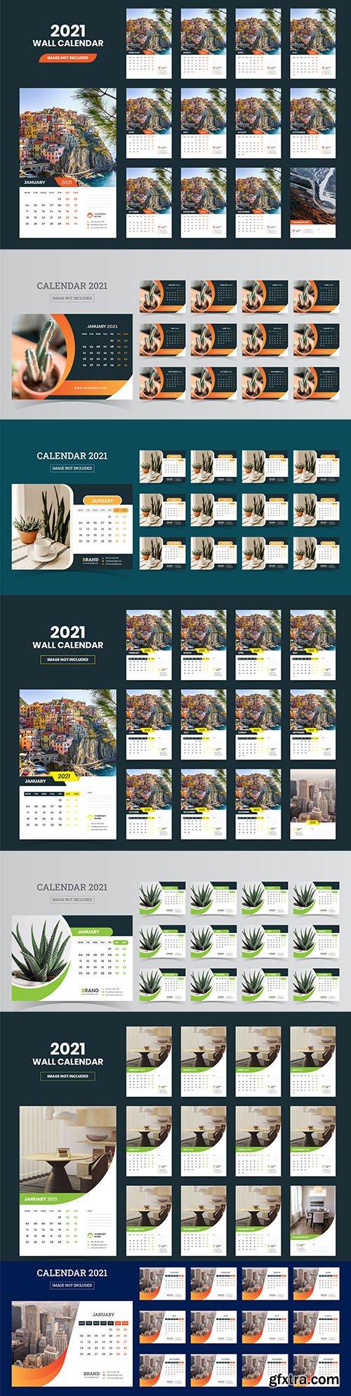 Desktop calendar for 2021 with decorative photos
