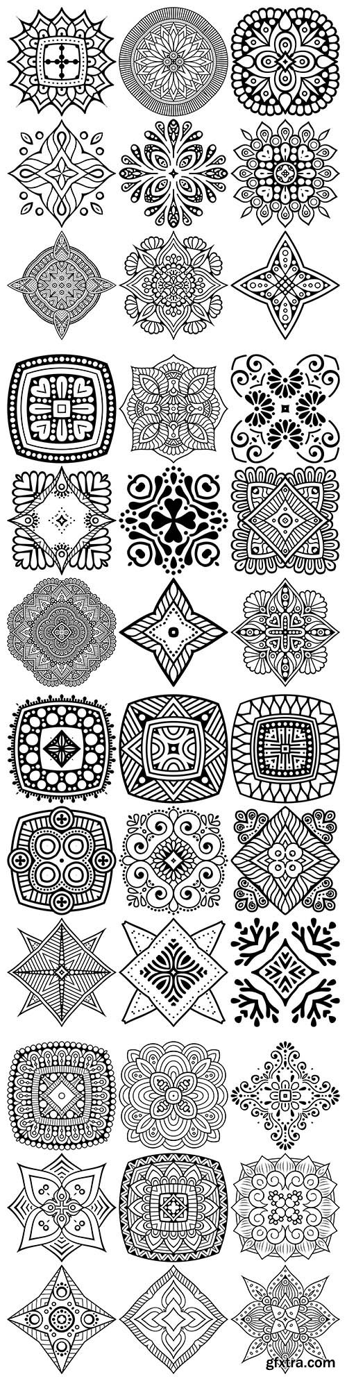 Mandala set black ethnic drawing design