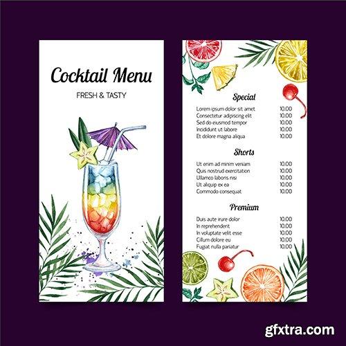 Cocktail menu watercolor template design