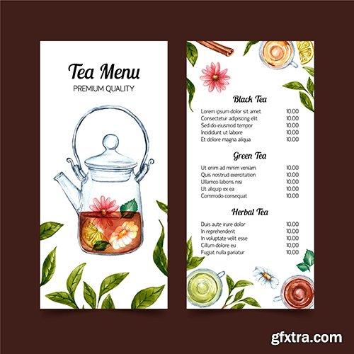 Tea menu watercolor template design