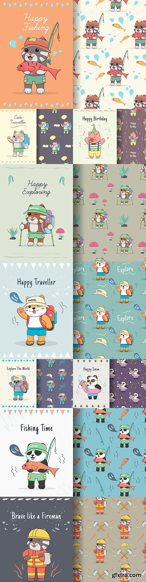 Cute and funny animals with seamless design pattern