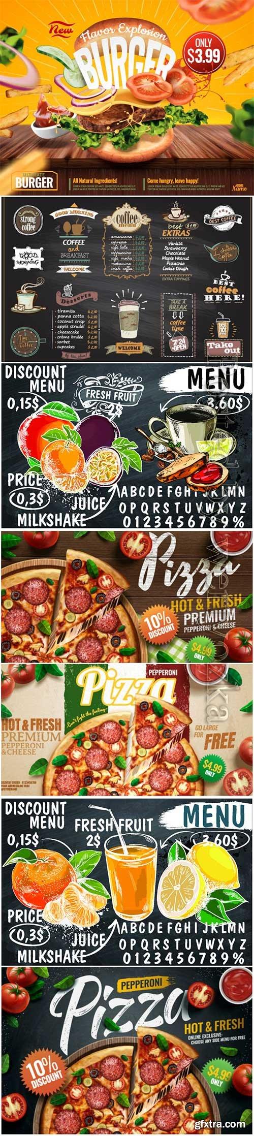 Advertising vector food posters, menu
